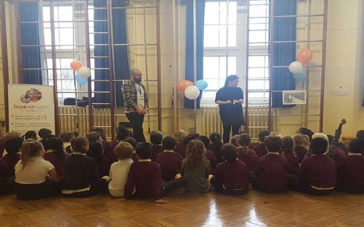 Staff giving an assembly at Swaffield School