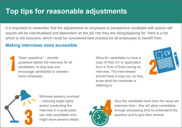 Top 10 tips for reasonable adjustments
