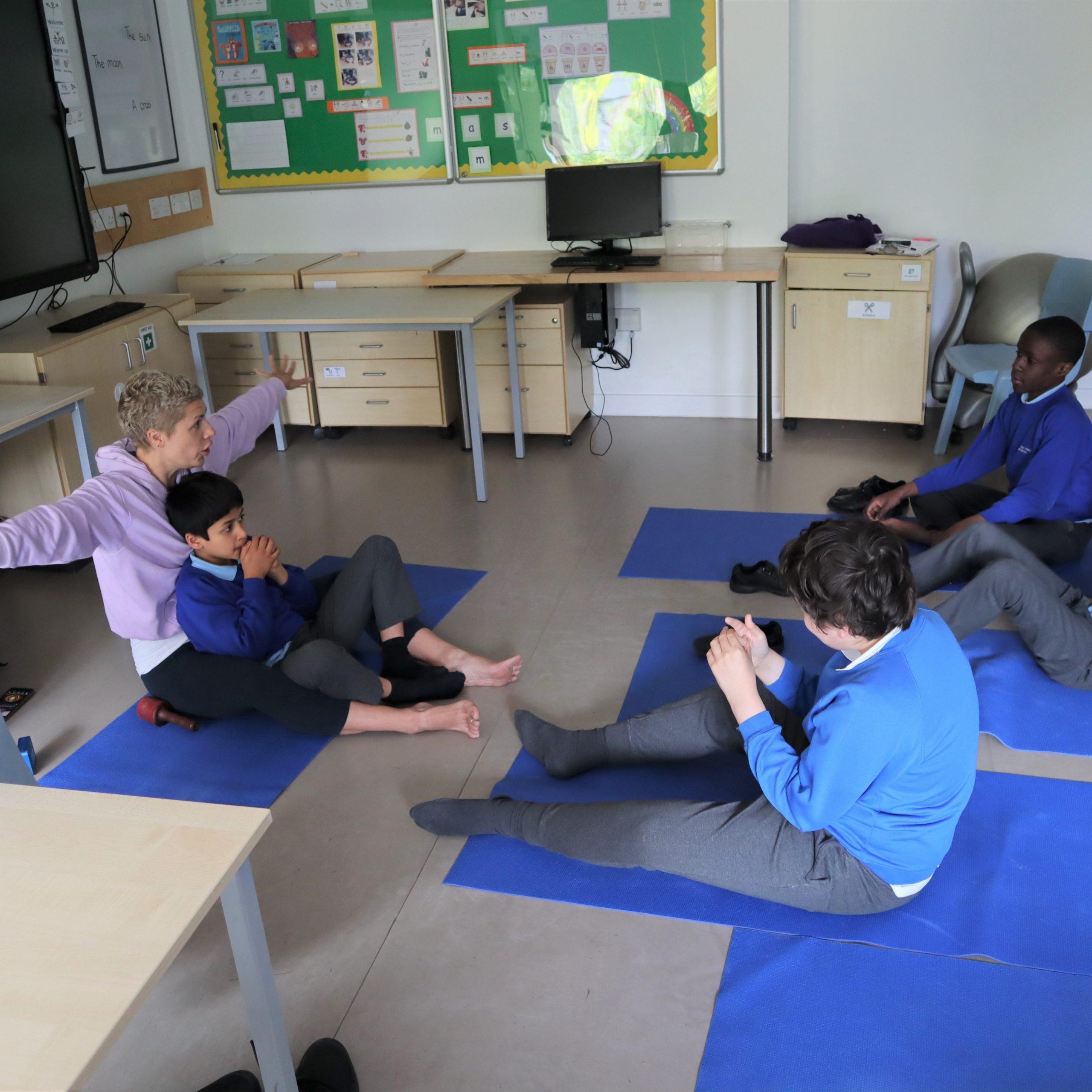 Pupils practising BRAVE poses